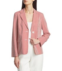 piazza sempione women's striped shirt jacket - red white - size 42 (8)