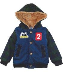 jaqueta casaco manabana infantil grossa com pelucia jeans - azul/verde - l㣠- dafiti
