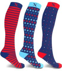 extreme fit men's and women's compression knee high socks - 3 pair