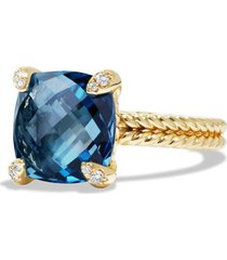 david yurman chatelaine ring with semiprecious stone and diamonds in 18k gold, size 7 in hampton blue topaz at nordstrom