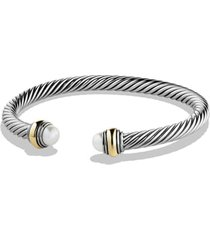 david yurman cable classics bracelet with semiprecious stones & 14k gold accent, 5mm, size large in pearl at nordstrom