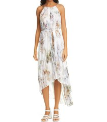 women's ted baker london vanilla pleated high/low dress, size 2 - white