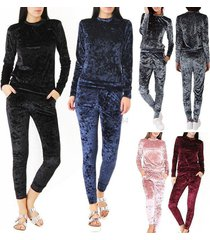 women's crushed velvet 2pcs tracksuit warm hoodie sweatshirt pants set sport sui