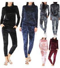 women's crushed velvet 2pcs tracksuit warm hoodie sweatshirt pants set sport sui
