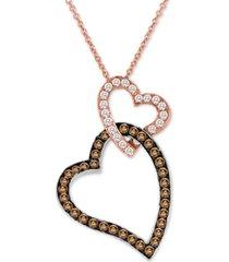 "le vian chocolate diamond & vanilla diamond hearts 18"" pendant necklace (3/4 ct. t.w.) in 14k rose gold"