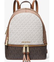 mk zaino rhea medio color-block a righe con logo - cuoio (marrone) - michael kors