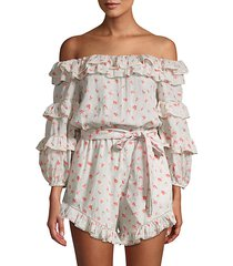 printed off-the-shoulder cotton romper
