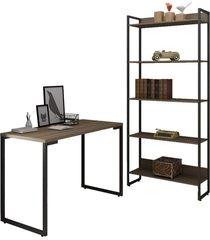 conjunto escritã³rio mesa escrivaninha 120cm e estante 5 prateleiras estilo industrial new port f02 castanho - mpozenato - marrom - dafiti