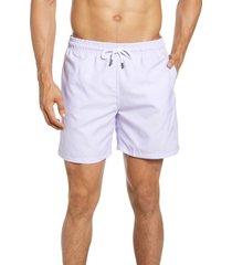 men's stone rose geo print swim trunks, size x-large - purple