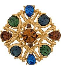 jean louis scherrer pre-owned twisted cut-out brooch - gold