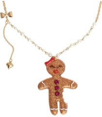 "betsey johnson gingerbread woman pendant long necklace, 28"" + 3"" extender"