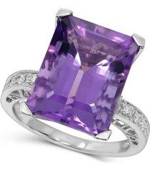 amethyst (9 ct. t.w.) & diamond (1/8 ct. t.w.) ring in 14k white gold