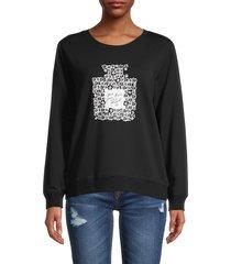 karl lagerfeld paris women's perfume graphic cotton-blend sweatshirt - black - size xs