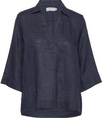 marseille linen blouse blouses short-sleeved blauw morris lady