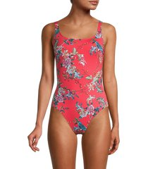johnny was women's malakye floral-print one-piece swimsuit - size xs