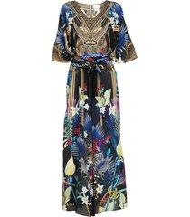 camilla embroidered silk jumpsuit - multicolour