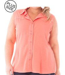 camisa feminina regata de sarja com botões plus size, - kanui