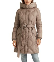 petite women's lauren ralph lauren mixed quilting belted down puffer coat, size x-large p - beige