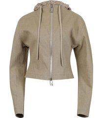 crochet hood zip-up jacket, natural