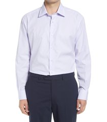 men's david donahue regular fit textured check dress shirt, size 17 - 34/35 - purple