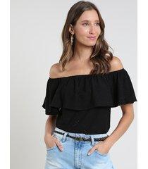 blusa feminina ciganinha em laise manga curta preta