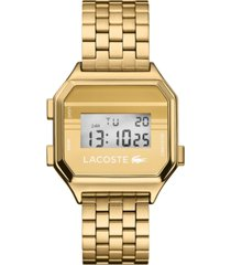lacoste men's digital berlin gold-tone stainless steel bracelet watch 34mm