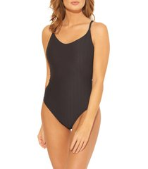 women's bleu by rod beattie floating underwire one-piece swimsuit, size 6 - black