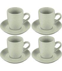 jogo de xãcaras 4 peã§as porcelana c/pires 90ml – bon gourmet - incolor - dafiti