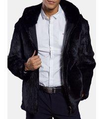 giacca da uomo nera con cappuccio in pelliccia sintetica invernale calda da sottile