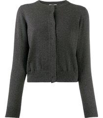 brunello cucinelli cashmere fitted cardigan - grey