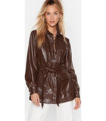 womens faux leather look back belted longline jacket - chocolate
