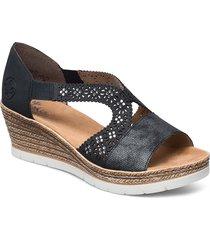 619a3-14 sandalette med klack espadrilles blå rieker