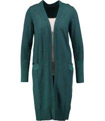 garcia zacht lang groen vest met glitterdraad details