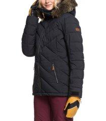 roxy juniors' quinn hooded faux-fur-trim active coat
