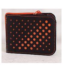 recycled rubber wallet, 'stylish dots in orange' (peru)