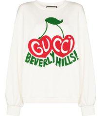 gucci cherry print sweatshirt - white