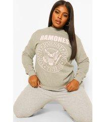 plus gelicenseerde pastel ramones sweater, grey