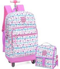 kit mochila de rodinha 360 lancheira e estojo flamingo up4you luxcel 51271 rosa - rosa - menina - dafiti