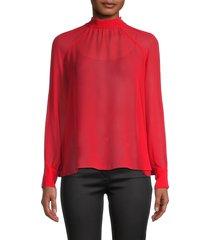 kenzo women's semi-sheer tieneck blouse - medium red - size 34 (2)