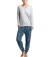muk luks stretch waffle fleece pajama set