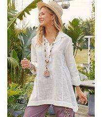 camicetta casual a maniche lunghe con bottoni a fessura tinta unita per donna