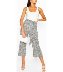 tall leopard belted woven culottes, white