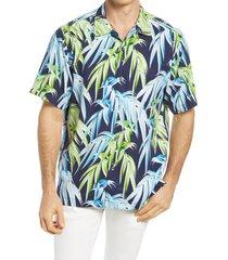 men's tommy bahama perfect palmday leaf print short sleeve silk button-up shirt, size medium - blue