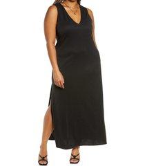 plus size women's open edit sleeveless knit dress, size 3x - black