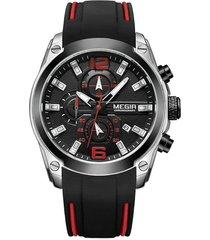 reloj hombres megir 2063 cronografo luminoso negro plateado