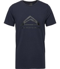 m tech tee t-shirts short-sleeved blå peak performance
