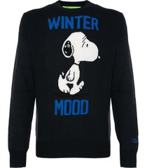 mc2 saint barth man blue sweater winter mood snoopy print - peanuts special edition