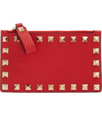 women's valentino garavani rockstud leather zip card case - red