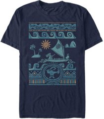 disney men's moana ocean sweater collage, short sleeve t-shirt