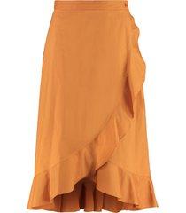 pinko scettico cotton wrap skirt